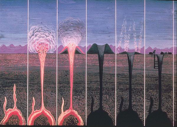 Illustrasjon av vulkanpiper som strekker seg nedover i jorden og ofte inneholder forekomster av diamanter