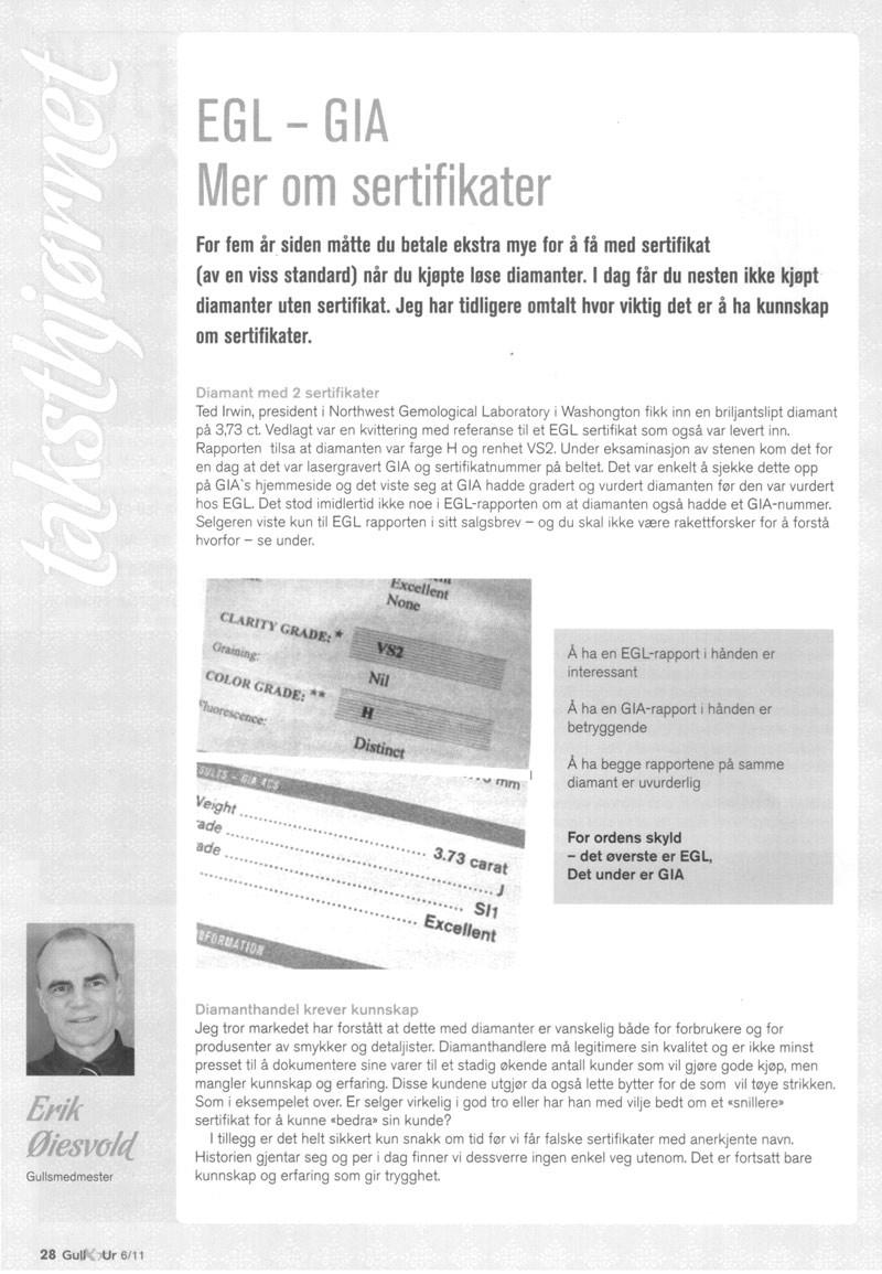 Fagbladet Gull & ur, artikkel om EGL vs GIA diamantsertifikat