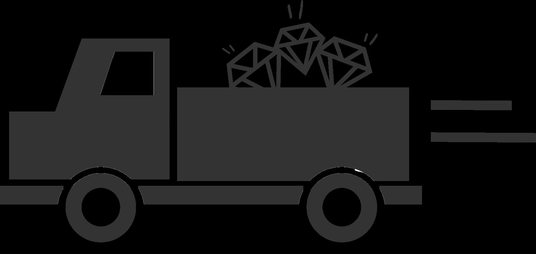 Lastebil med diamanter på planet til illustrasjon for at du returnerer smykkene når du har sett på dem.