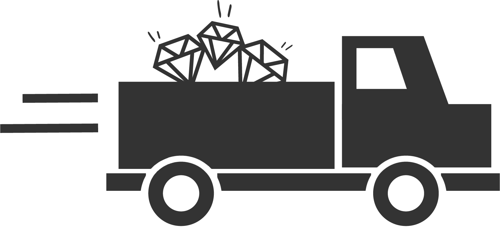 Lastebil med diamanter på planet illustrerer at du kan se smykkene før du kjøper dem.